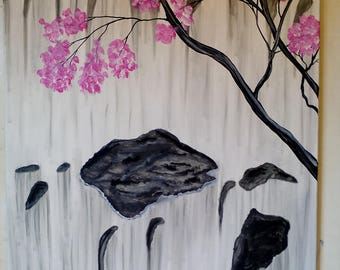 Waterfall in Japan with rock, Acrylic paint.