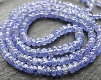 "Tanzanite cut rondelles, 3mm - 4mm, 16""/41cm string, 210 beads (3235)"