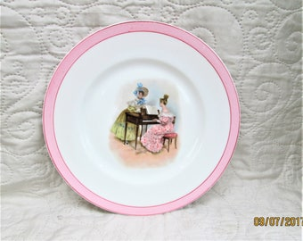 Vintage Limoges Plate, French porcelain, french women decor, white porcelain, pink plates