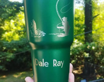 Fly fishing tumbler 30 Oz tumbler engraved with trout fishing art Like YETI Gifts for him / her Birthday gifts