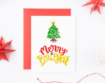 Merry and Bright Christmas Card - Funny Christmas Card - Christmas Card Set - Christmas Tree Card - Family Christmas Card - Christmas Tree