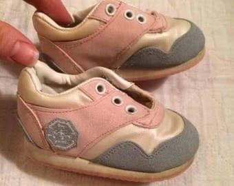 Vintage Baby Infant Tennis Shoes Tennies Pink Grey White