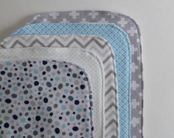 Blue and Gray Contoured Burp Cloths: Set of Five