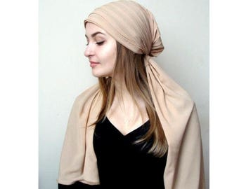 10% OFF Feride beige Çalıkuşu Tichel,Peacock Hair Snood, Scarf Bandana,Chemo Wrap,Jewish Head covering, Sleep Alopecia Cap,Sammer ready scar