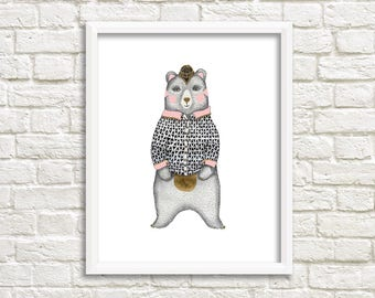 Bear Illustration, Art Print