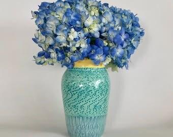 Handmade Green and Yellow Vase