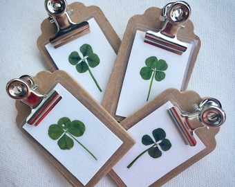 Real Four Leaf Clover Mini Clipboard Fridge Magnet