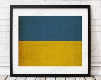 Ukraine Flag Print, Ukraine Flag Art, Ukraine Gifts, Ukrainian Flag Poster, Housewarming Gift, Ukraine Art, Home Office Art, Vintage Flag