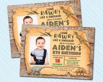 Digital Printable Dinosaur Birthday Invitation. Rawr party. Boy Birthday