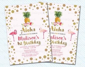 Digital Printable Luau / Aloha Birthday Invitation. Girl Birthday. Flamingo birthday