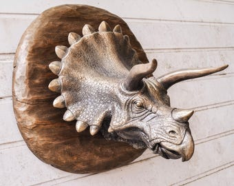 Triceratop Head sculpture, Triceratop Head Wall Mount, Triceratop Faux Taxidermy, Dinosaur Head Wall Mount