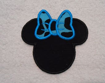 Black and Turquoise Minnie Mouse Iron on Applique Patch