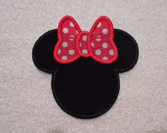 Black and Dark Pink Minnie Mouse Iron on Applique Patch