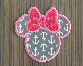 Pink and Gray Anchor Minnie Mouse Iron on Applique Patch