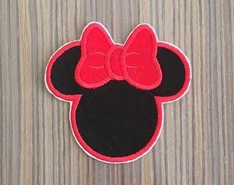 Black and Red Minnie Mouse Iron on Applique Patch