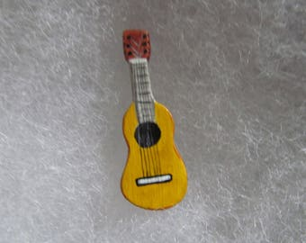 Guitar Jewelry Pin - handcarved and handpainted