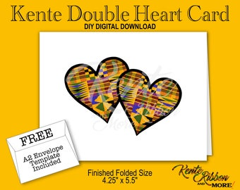 "DIY - Printable Kente Double Heart Note Card - Folded size: 5.5"" x 4.25"" - 2-up on 8.5""x11"" - Digital Download - JPG Files - Style KMDHC"