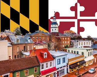 Annapolis Maryland canvas, Maryland Flag , Annapolis  wall canvas, Maryland state Capital photo wall art, Annapolis Maryland Flag collage
