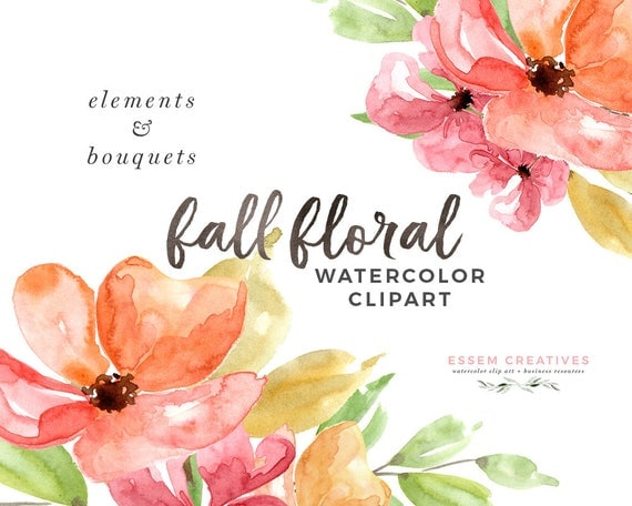 Fall Floral Clipart Watercolor Autumn Thanksgiving Invitation Bouquet Winter Wedding Clip Art Digital Flower Border From