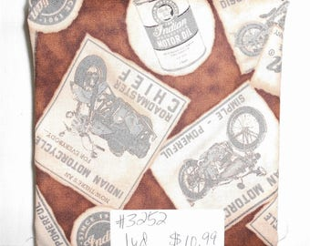 Fabric -1 yard piece -Classic Indian Motorcycle/Brown Newspaper Clippings of Motorcycles/Quilting Treasures 1649 23590 A (#3252)