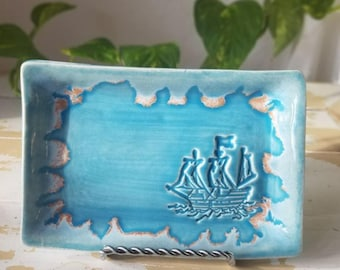 Blue Pottery Ship Tray/Handmade Blue Dish/Blue Decor Tray/Nautical Jewelry Tray/Small Soap Dish/Blue Pottery Tray/Soap Pottery Dish