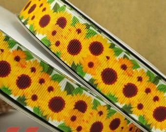 """Sunflower Grosgrain 7/8"""" Printed Ribbon, Flower Ribbon"""