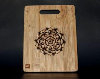 Bamboo Cutting Board with Wood burning Mandala Art