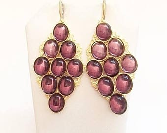 """30% Off - Free Shipping Purple Earrings - 24kt. Gold Plated -Handmade - 2 1/2"""""""