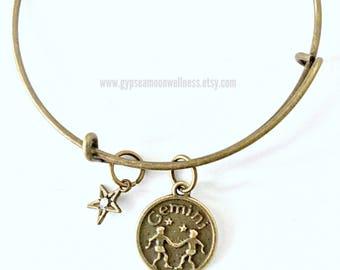 Intelligent Gemini Zodiac Sign Bronze Adjustable Bangle Double Sided Charm Bracelet Astrology Star Signs Handmade Jewelry Free Shipping