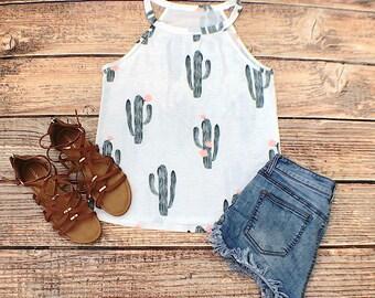 cactus tank top, cactus shirt, cactus t-shirt, floral shirt, graphic tee