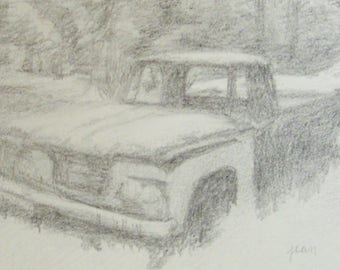 Original graphite pencil drawing of an abandoned 'Old Truck in the Forest'