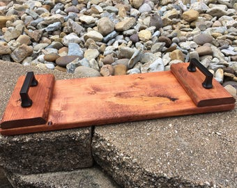 Reclaimed Wood Tray with Black Handles, Cherry