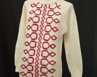 Vintage 60s AGASHI MOD Graphic Acrylic Mock Turtle Neck Sweater Neck Zip