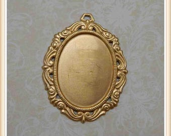 2 pcs raw brass oval cabochon setting bezel frame picture embellisment #3284
