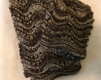 Brown and tan scarf and hat