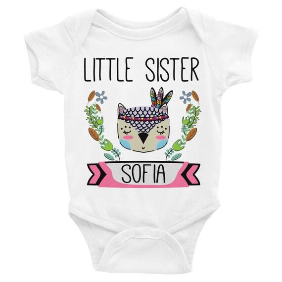 Little sister onesie, custom onesie, personalized onesie, boho owl onesie, little sister outfit, little sister, newborn onesie, baby girl
