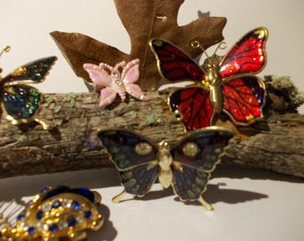 Vintage COLLECTION of BUTTERFLY PINS