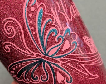 Personalized glossy Vinyl Decal, Butterfly, glitter