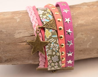 Suede Cuff Bracelet and multicolored liberty