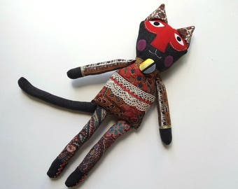 Art Doll, Textile Doll, Rag Doll Cat named Hamisi