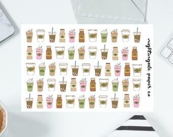 Cute Coffee Planner Stickers - Coffee, Tea, Frappucino, Iced Coffee, Mocha, Pink Drink Planner Stickers
