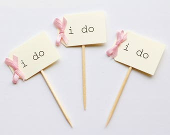 12 i do cupcake toppers, beige with blush pink i do cupcake picks, blush pink i do cupcake toppers, beige and blush cupcakes, cupcake picks