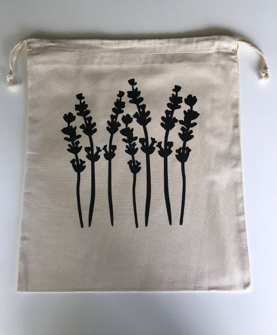 Hand Printed Cotton Drawstring Project Bag- Lavender