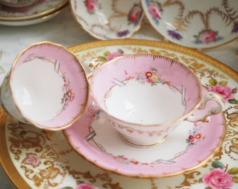 Antique Copeland and Garrett ribbon pink teacup and coffee cup and saucer, trio 3pcs set