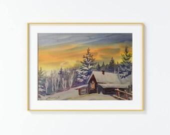 Original Watercolor Painting, landscape, Forest,Winter