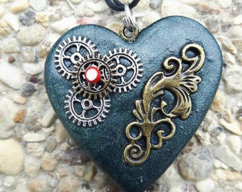 Polymer clay Heart Necklace steampunk style.