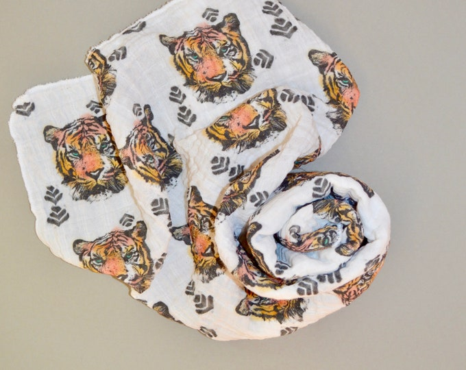 Featured listing image: Tiger Watercolor /// Baby organic double gauze swaddle
