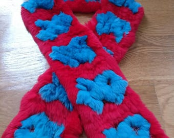 Funky bright rabbit fur scarf