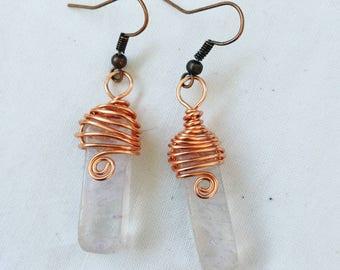 Hyaline and copper quartz pendant earrings