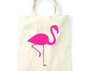 Shopping bag Flamingo, funny bag, graphic bag, shopper, tote bag, tote beige tote tas, katoen tote, boodschappentas, markt tas, bedrukte tas